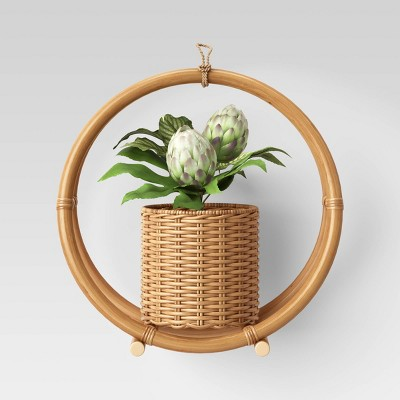 "14.7"" x 14.2"" Rattan Hanging Planter Holder Natural - Opalhouse™"