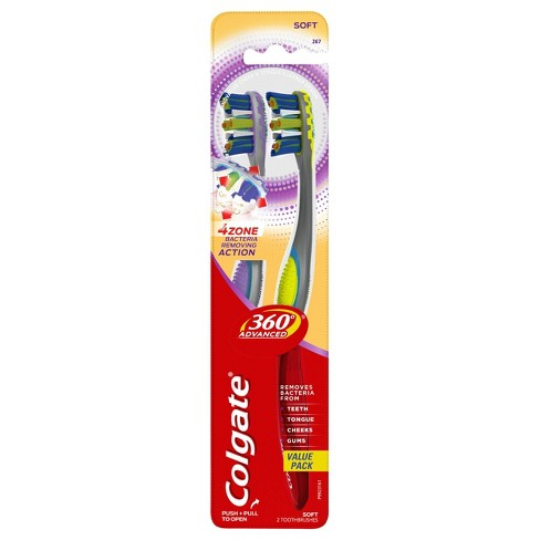 Colgate 360 Advanced 4 Zone Toothbrush Soft - 2ct - image 1 of 4