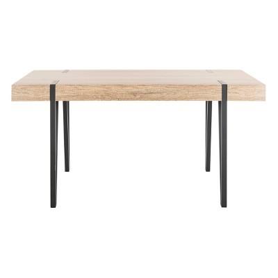 Alyssa Wood Top Dining Table Gray - Safavieh : Target