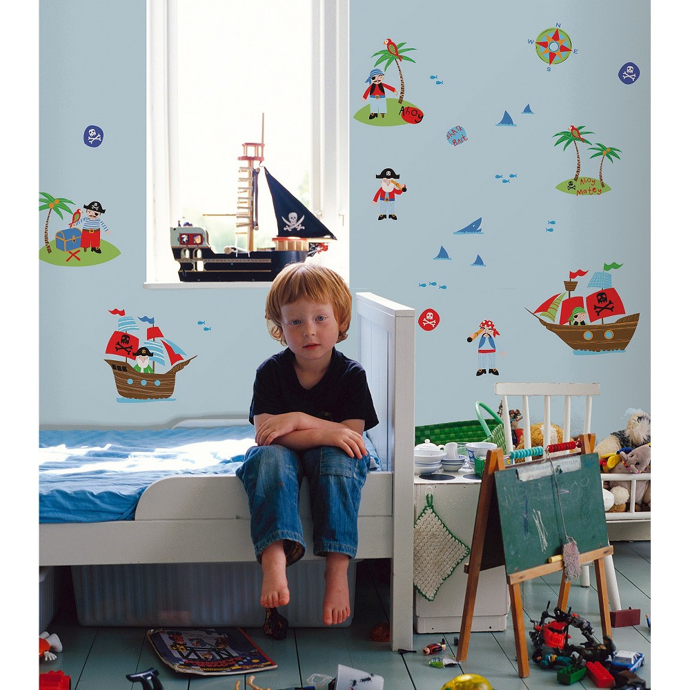 Image of Fun4Walls Pirates Wall Stickers Set of 2 - Blue/Red, Blue Red