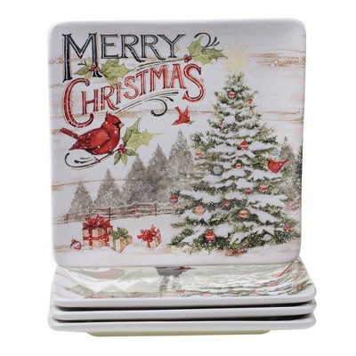 "10.5"" 4pk Earthenware Evergreen Christmas Dinner Plates - Certified International"