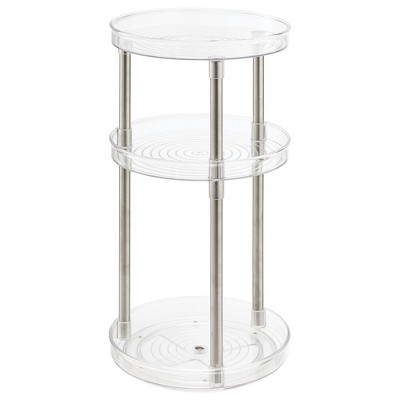 mDesign Spinning Lazy Susan Turntable Storage Tray - Clear