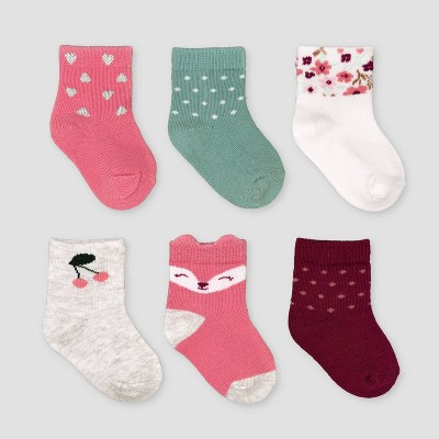 Baby Girls' 6pk Fox Crew Socks - Just One You® made by carter's 0-3M