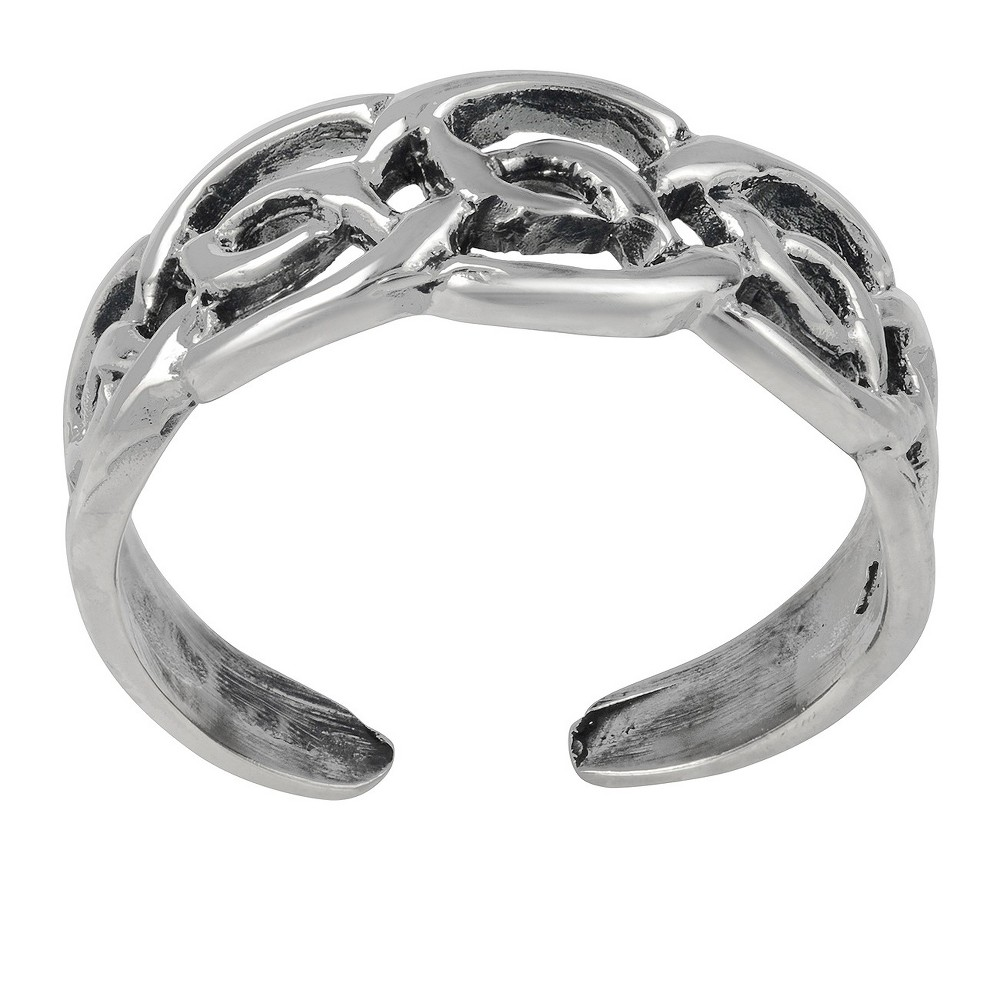 Women's Journee Collection Sterling Silver Adjustable Celtic Knot Toe Ring - Silver