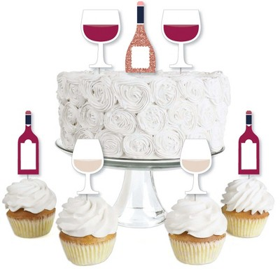 Big Dot of Happiness But First, Wine - Dessert Cupcake Toppers - Wine Tasting Party Clear Treat Picks - Set of 24