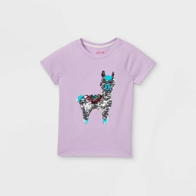 Girls' Flip Sequin Llama Short Sleeve T-Shirt - Cat & Jack™ Light Purple
