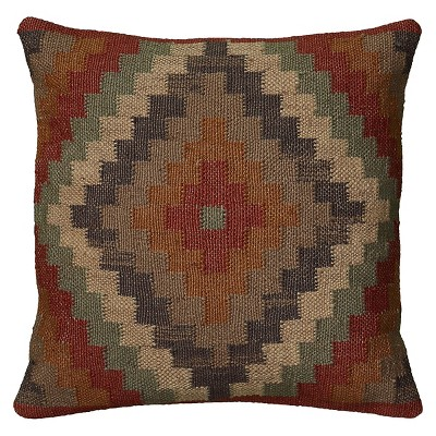 "18""x18"" Southwestern Striped Throw Pillow Rust/Navy - Rizzy Home"