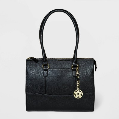 Bueno Zip Closure Tote Handbag - Black