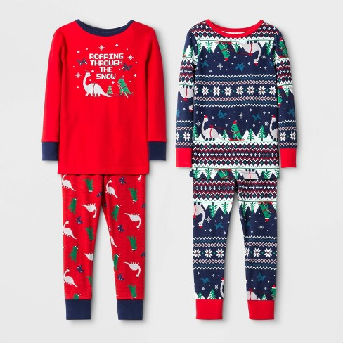 Toddler Boys' 4pc 100% Cotton Dino Pajama Set - Cat & Jack™ Red/Blue - image 1 of 1