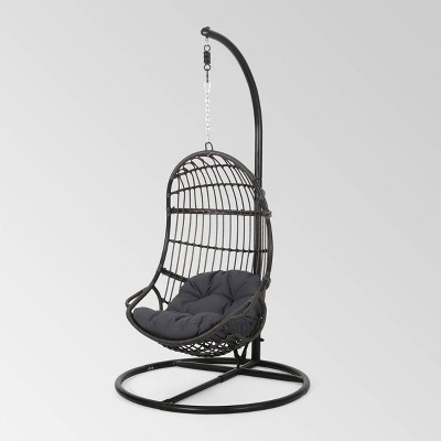 Crumpton Outdoor Wicker Hanging Chair with Stand - Gray/Dark Gray - Christopher Knight Home