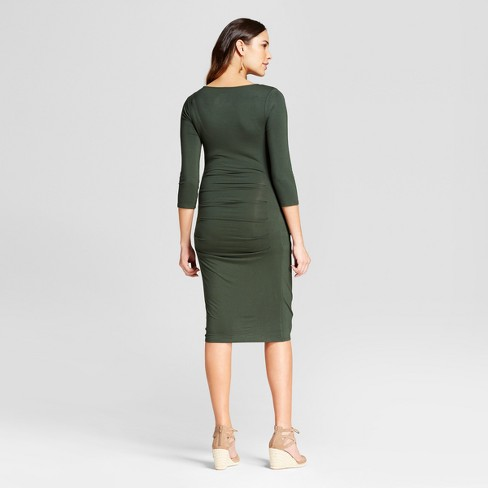 368a203a75b Maternity 3 4 Sleeve Pleated Dress - Isabel Maternity By Ingrid   Isabel™  Forest Green S   Target
