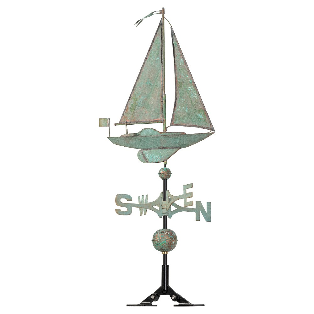 "Image of ""19"""" Sailboat Weathervane - Copper Verdigris - Whitehall Products, Brown"""