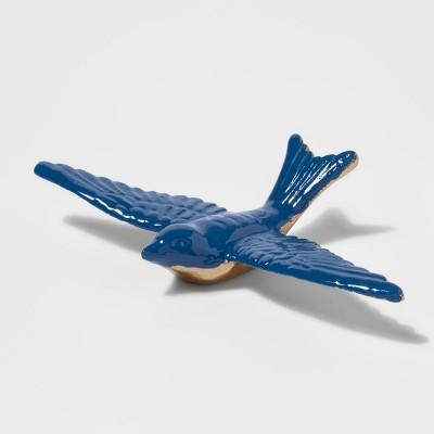 8.2  x 1.6  Decorative Metal Bird Figurine Gold/Blue - Threshold™