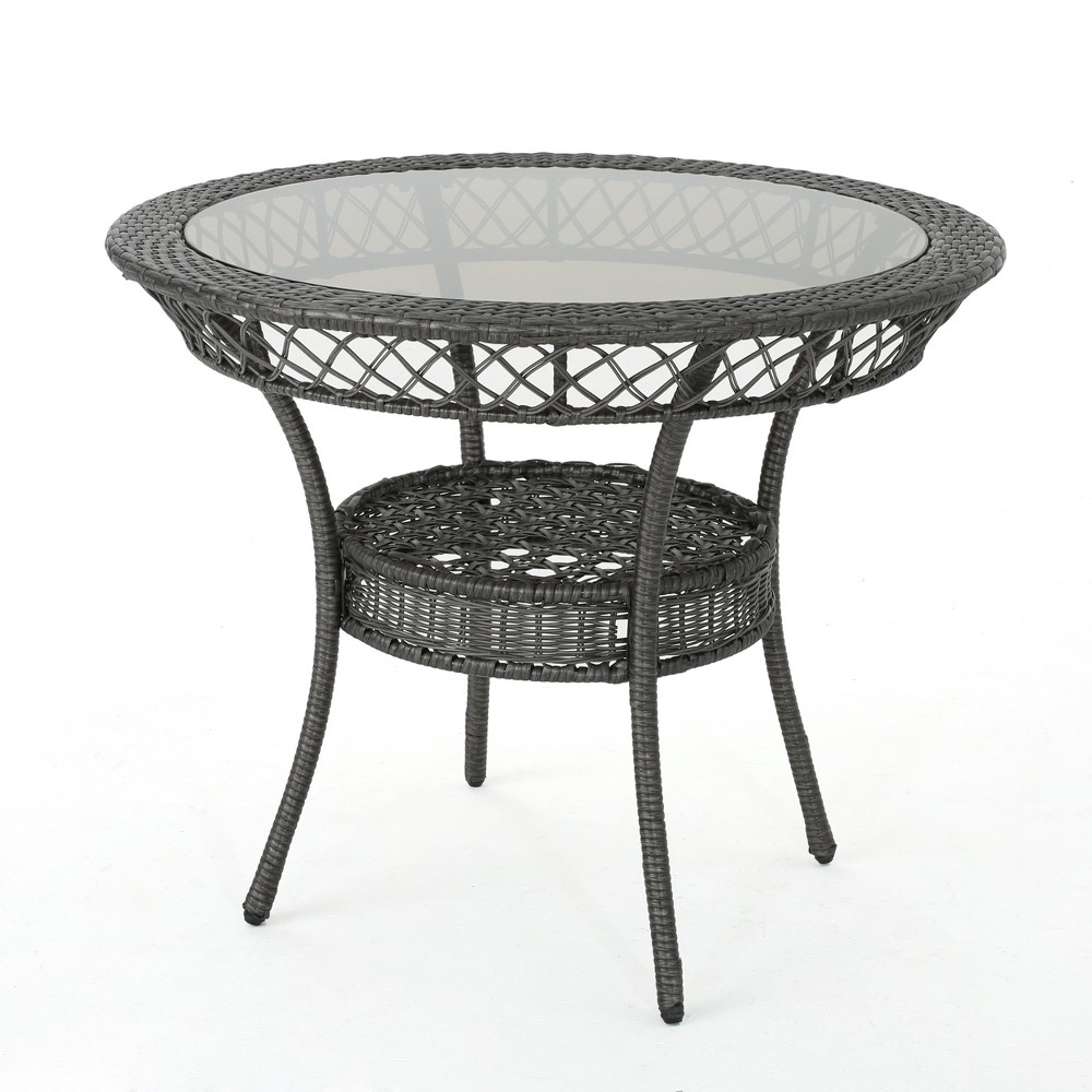Figi Wicker Chat Table - Gray - Christopher Knight Home