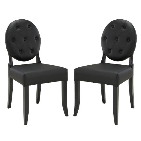 Button Dining Side Chair Set of 2 Black - Modway - image 1 of 4