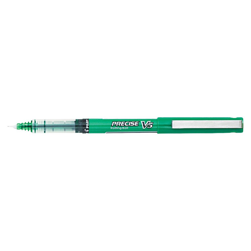 Image of Pilot Precise V5 Roller Ball Stick Pen, Needle Point, 0.5mm Extra Fine - Green Ink (12 Per Set)