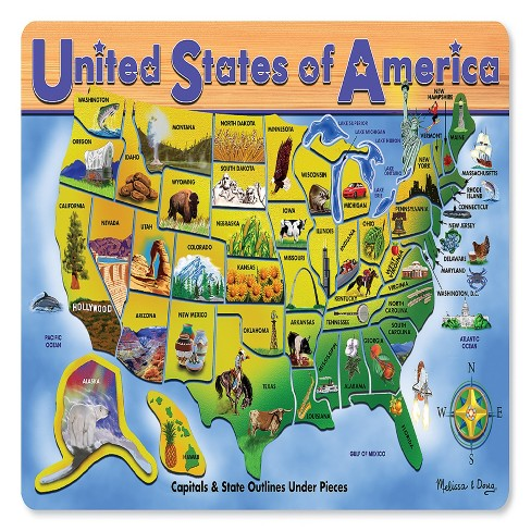 Melissa Doug Usa Map Wooden Puzzle 27pc Target - Puzzle-us-map