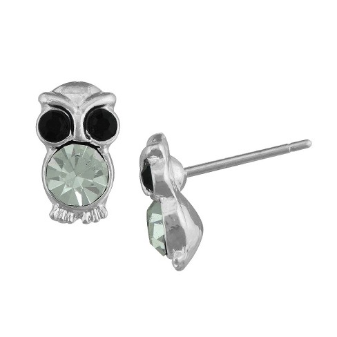 Silver Plated Cubic Zirconia Owl Stud Earrings - image 1 of 1