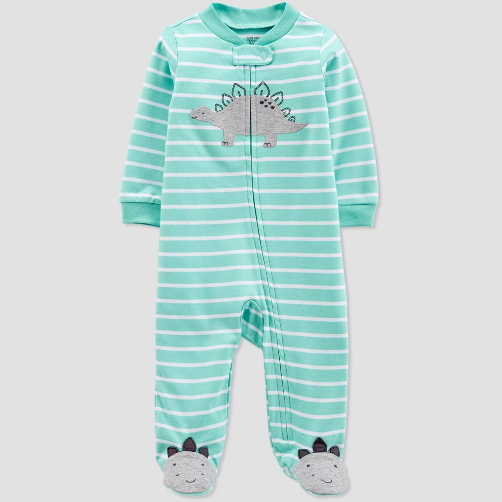 Baby Boys' Striped Dino Sleep 'N Play One Piece Pajama - Just One You made by carter's Green/Gray Newborn