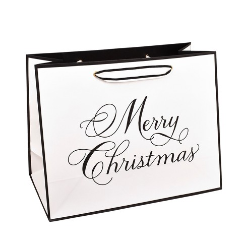 Ivory With Black Merry Christmas, Large Vogue Gift Bag - sugar paper™ - image 1 of 3