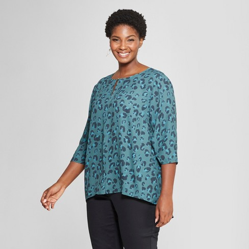 Women's Plus Size Animal Print Woven 3/4 Sleeve Top - Ava & Viv™ Green - image 1 of 2