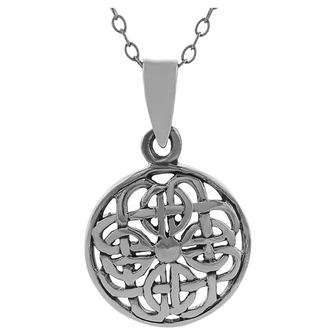 "Women's Journee Collection Round Celtic Knot Pendant Necklace in Sterling Silver - Silver (18"") - image 1 of 1"