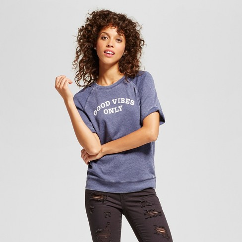 Women's Good Vibes Only Graphic Short Sleeve Sweatshirt Blue - Grayson Threads (Juniors') - image 1 of 2