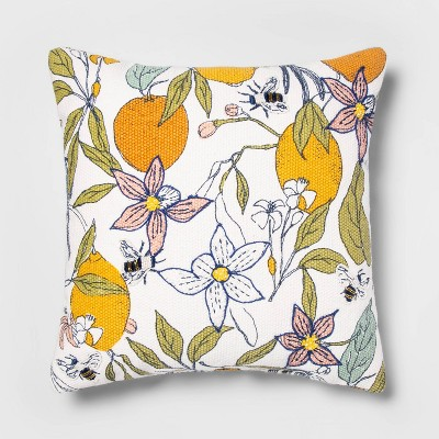 Square Cotton Printed And Embroidered Pillow - Opalhouse™