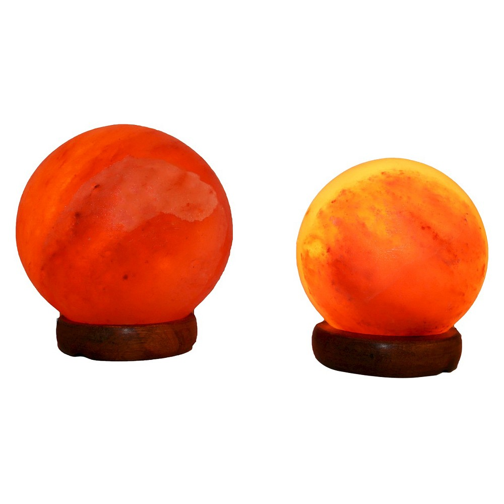 "Image of ""Accentuations by Manhattan Comfort Sphere Shaped Himalayan Salt Lamp 1.5 and 1.7 With dimmer Set of 2 (""""5""""&""""7""""), Neutral"""