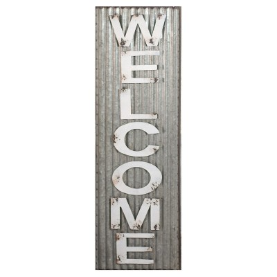 Welcome Wall Décor White & Silver (10 x32 )- VIP Home & Garden
