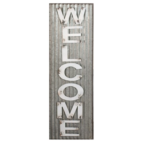 "Welcome Wall Décor White & Silver (10""x32"") - VIP Home & Garden - image 1 of 2"