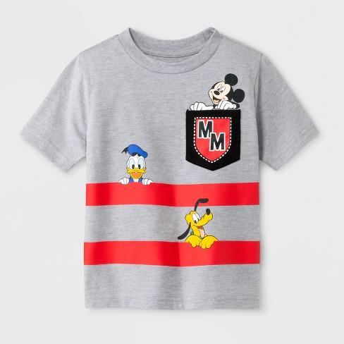dd24db42055 Toddler Boys  Mickey Mouse Pocket Short Sleeve T-Shirt - Heather Grey