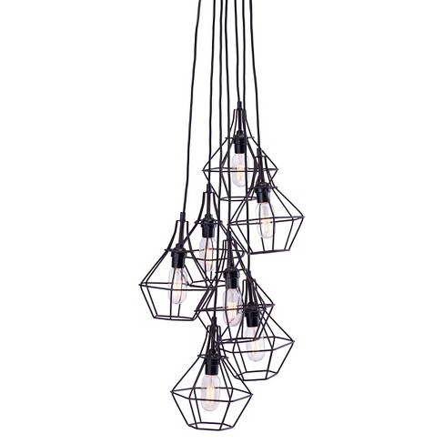 Distressed Black 7-Pendant Rustic Ceiling Lamp - ZM Home - image 1 of 3