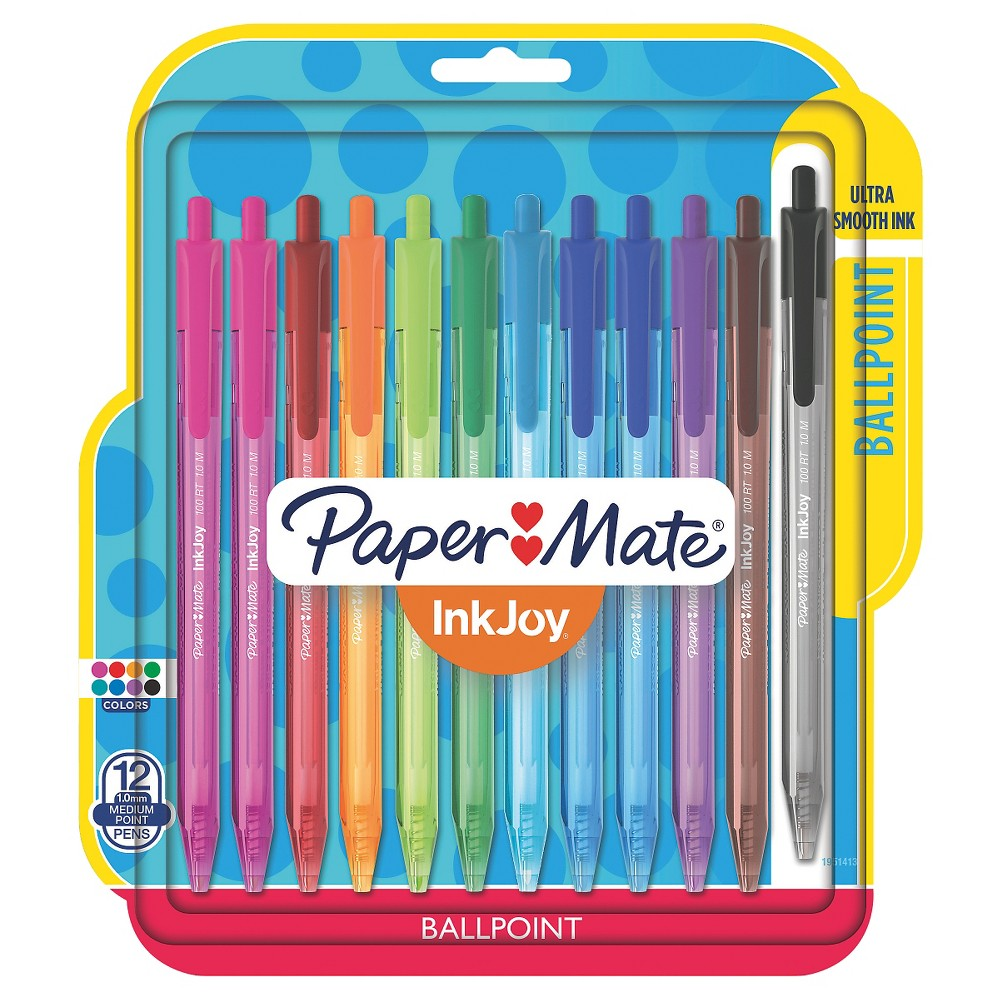 Image of Paper Mate Inkjoy 100RT Retractable Ballpoint Pen, 1mm, 12ct - Multicolor Ink