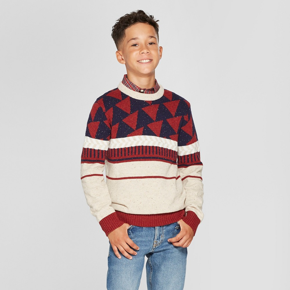 Boys' Long Sleeve Pullover Sweater - Cat & Jack XL, Brown