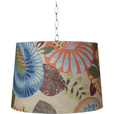 """Tropic Drum 16"""" Wide Brushed Steel Shaded Pendant Light"""