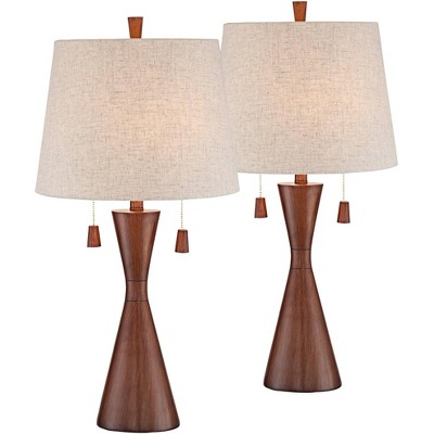 360 Lighting Mid Century Modern Table Lamps Set of 2 Brown Wood Oatmeal Tapered Drum Shade for Living Room Family Bedroom Bedside