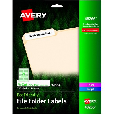 Avery Eco-Friendly File Folder Labels, 2/3 x 3-7/16 Inches, White, pk of 750