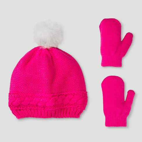 b497dc788fc Baby Girls  Cable Knit Hat And Mitten Set - Cat   Jack™ Pink   Target