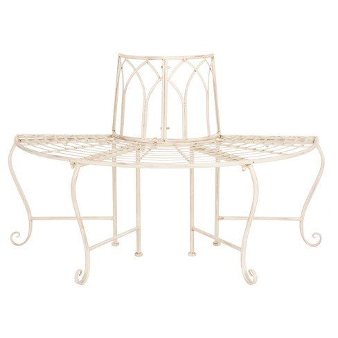 Groovy Abia Wrought Iron Outdoor Tree Bench Antique White Safavieh Creativecarmelina Interior Chair Design Creativecarmelinacom