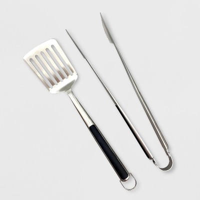 2pc Stainless Steel Grill Tool Set - Silver - Made By Design™