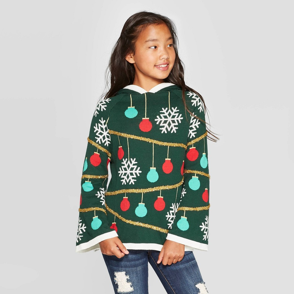 Image of Well Worn Girls' Ugly Christmas Tree Poncho Sweater - Green L, Girl's, Size: Large
