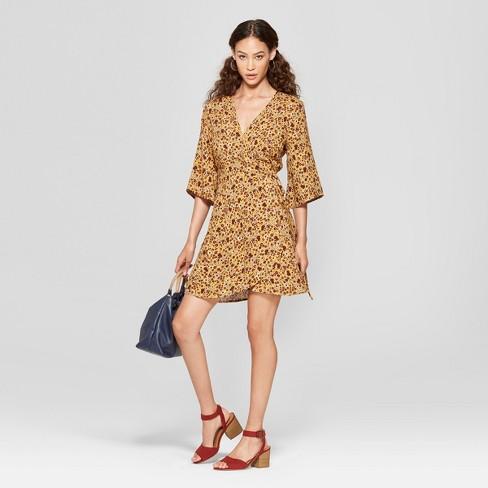 a11b553ac7ea3 Women s Floral Print 3 4 Sleeve Wrap Dress -...   Target