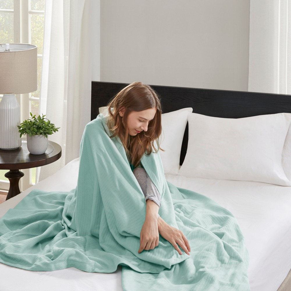 Image of Bed Blanket Liquid Cotton King Seafoam