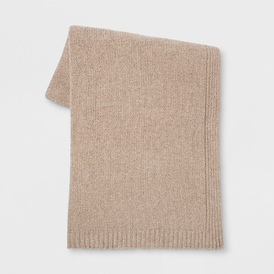 Heathered Chenille Knit Throw Blanket Neutral - Threshold™