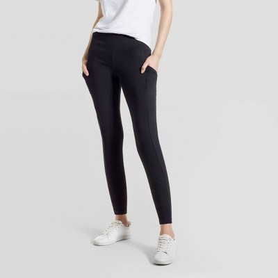 Hue Studio Women's Mid-Rise Cotton Comfort Cell Phone Side Pocket Leggings - Black