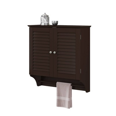 Wall Cabinet with Towel Bar and Shutter Doors Espresso Brown