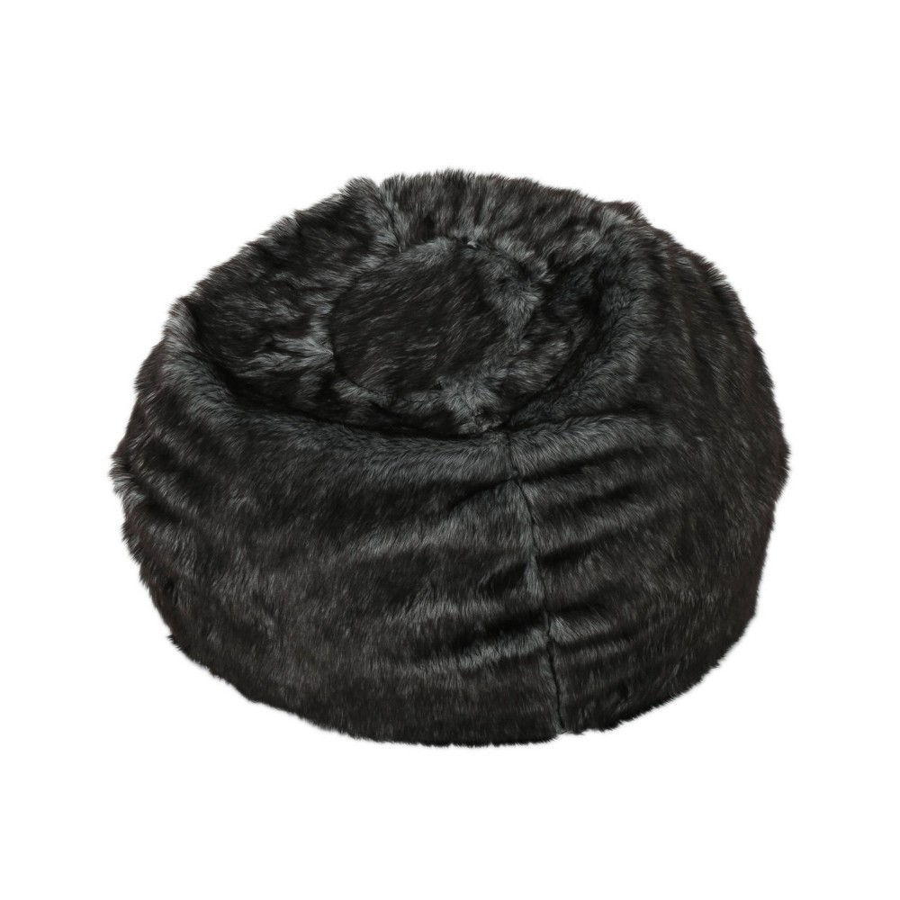 "Image of ""3"""" Leeson Faux Fur Bean Bag Black/White - Christopher Knight Home"""