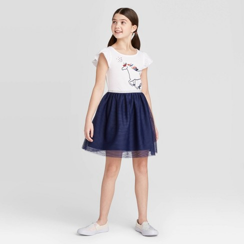 Girls' Unicorn Tutu Dress - Cat & Jack™ Navy - image 1 of 3