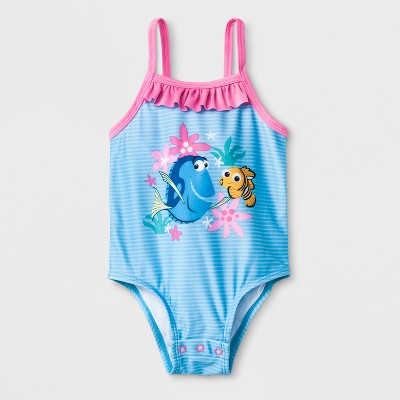 Baby Girls' Disney Finding Nemo One Piece Swimsuit with Snaps - Blue 6-9M